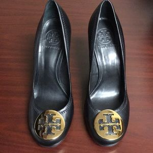 Tory Burch Reva Wedge Leather Heels Black Size 7